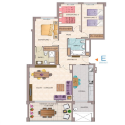 Layout of the apartment on the top floor